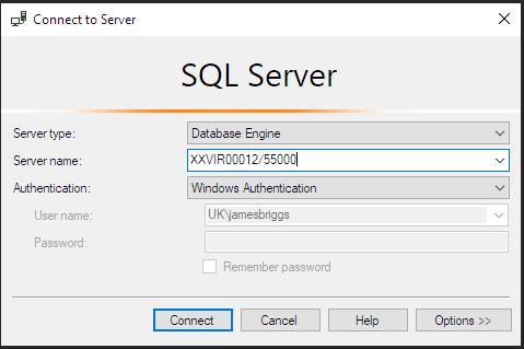 Диалоговое окно Connect to Server