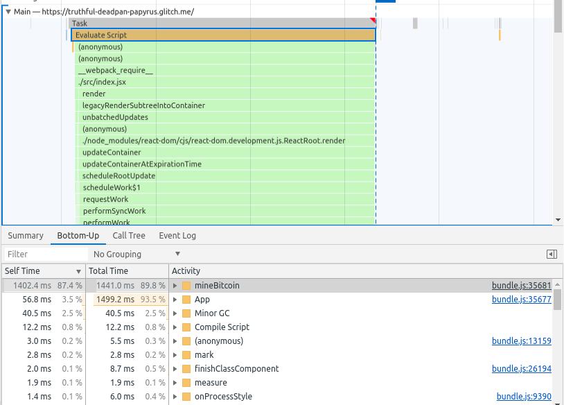 "Рис. 29. Раздел <code class=""inline-code"">Main</code> и вкладка <code class=""inline-code"">Bottom-Up</code> в случае выбора <code class=""inline-code"">Evaluate Script</code>"