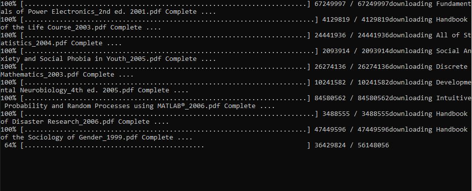 Рис. 3. Пример работы скрипта python, скачивающий файлы из списка Excel