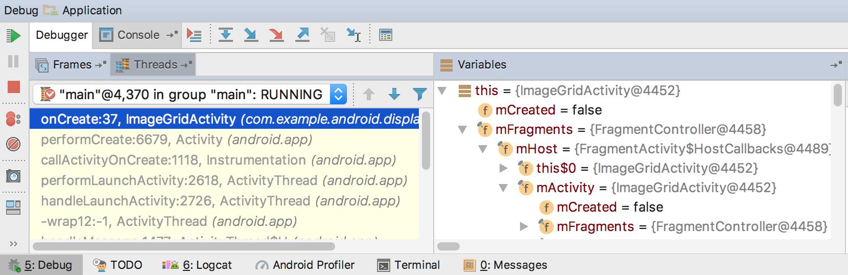 Окно для отладки приложения в Android Studio