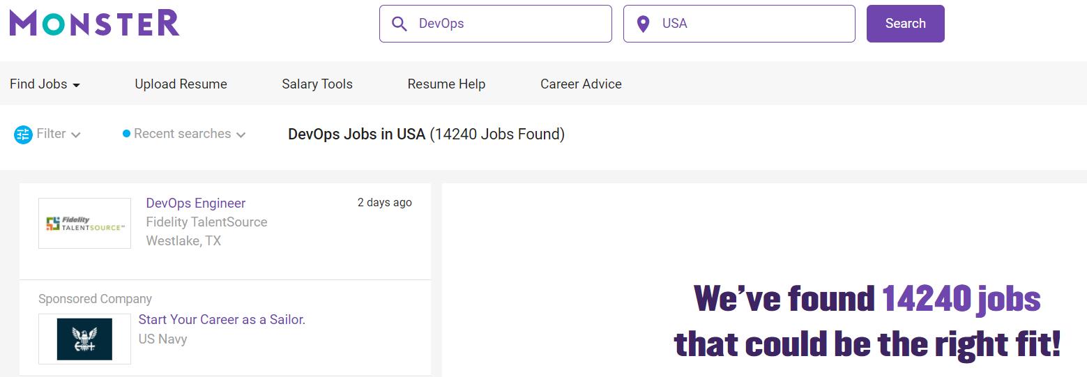 Скриншот сайта для поиска работы Monster.com