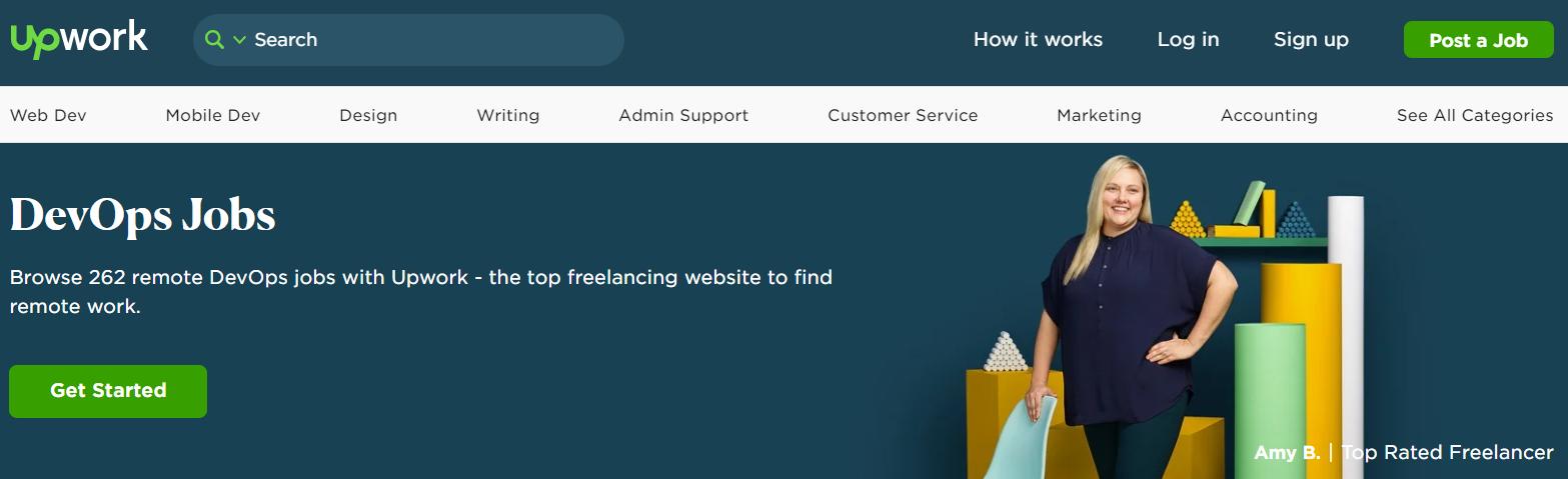 Скриншот сайта для поиска удаленной работы UpWork