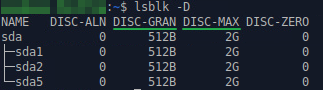 Рис. 2. Определение состояния службы TRIM в Ubuntu