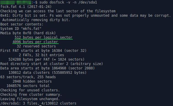 Рис. 14. Информация о размере сектора и кластера в Ubuntu