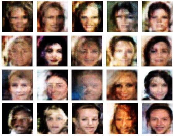 Фейковые лица, сгенерированные нашим генератором в процессе обучения GAN
