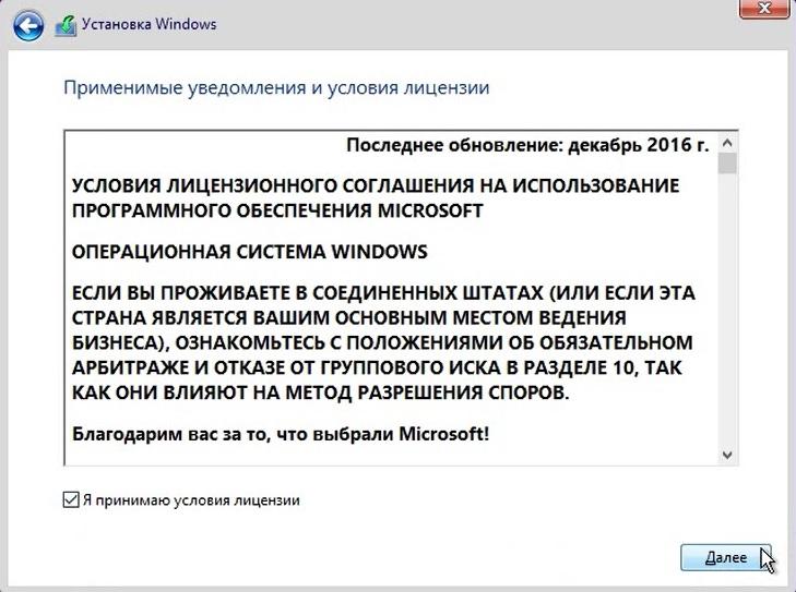 <b>Рисунок 10.</b> Лицензионное соглашение Windows 10.