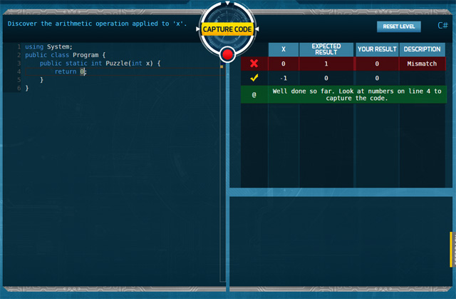 Code Hunt user interface