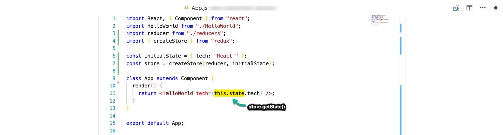"Замените ""this.state"" на ""store.getState ()"""