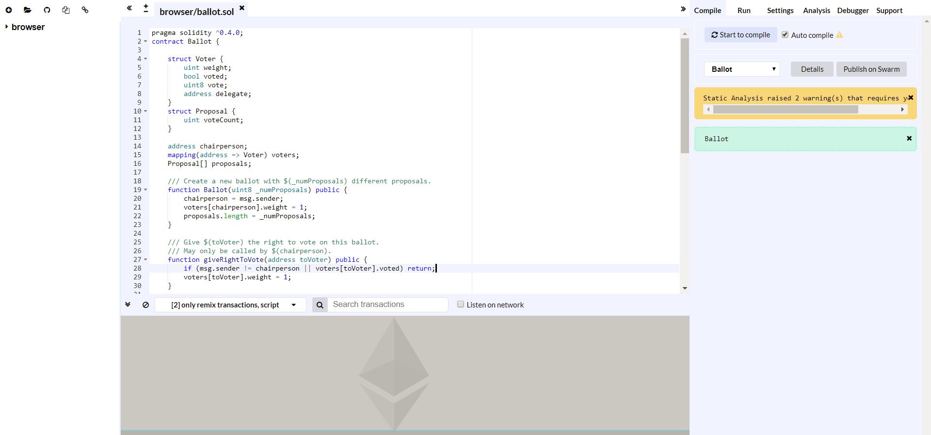 IDE для написания смарт-контрактов на Ethereum