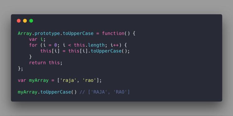 Добавление метода toUpperCase в Array.prototype