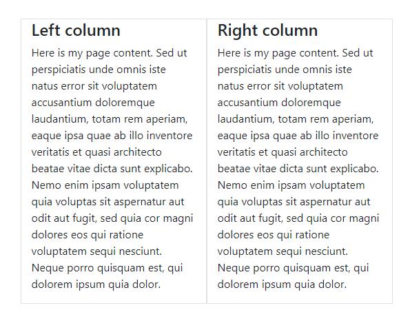 Сетка Bootstrap 4: две колонки