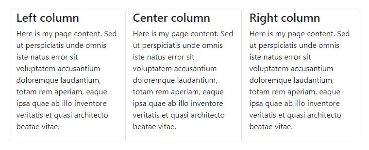 Сетка Bootstrap 4: три колонки