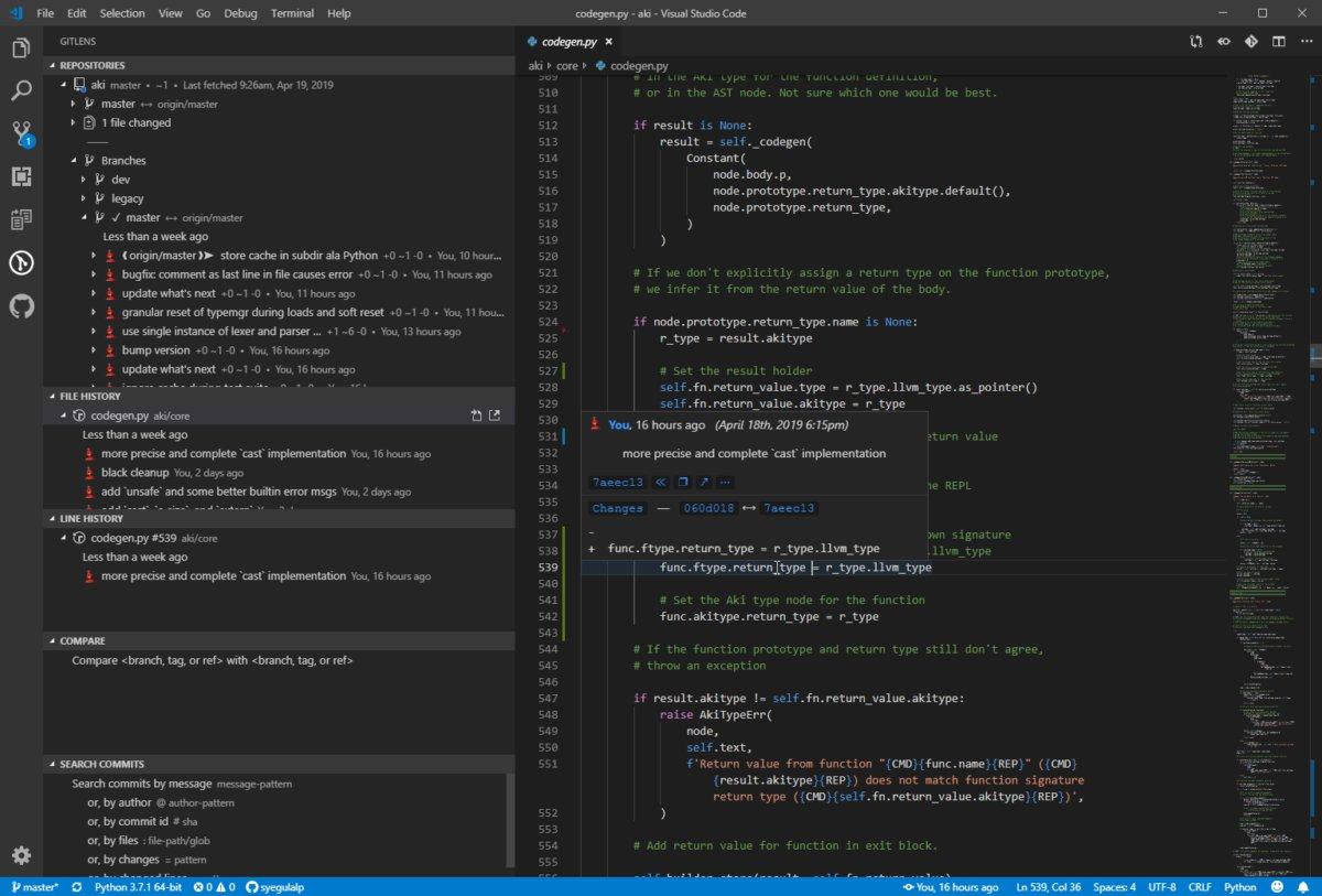 Функция line blame в GitLens показывает, кто и когда внес изменения в указанную строчку.