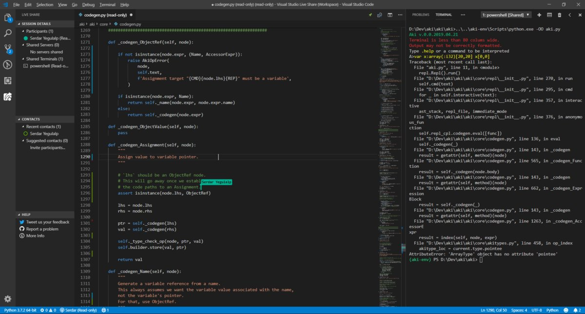 Редактирование кода с другими членами команды в режиме реального времени с помощью расширения Microsoft Visual Studio Live Share. Обратите внимание на флаг курсора с именем сотрудника.