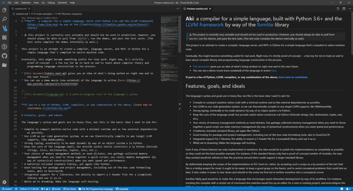 Редактирование и предварительный просмотр формата Markdown с плагином Markdown All in One.