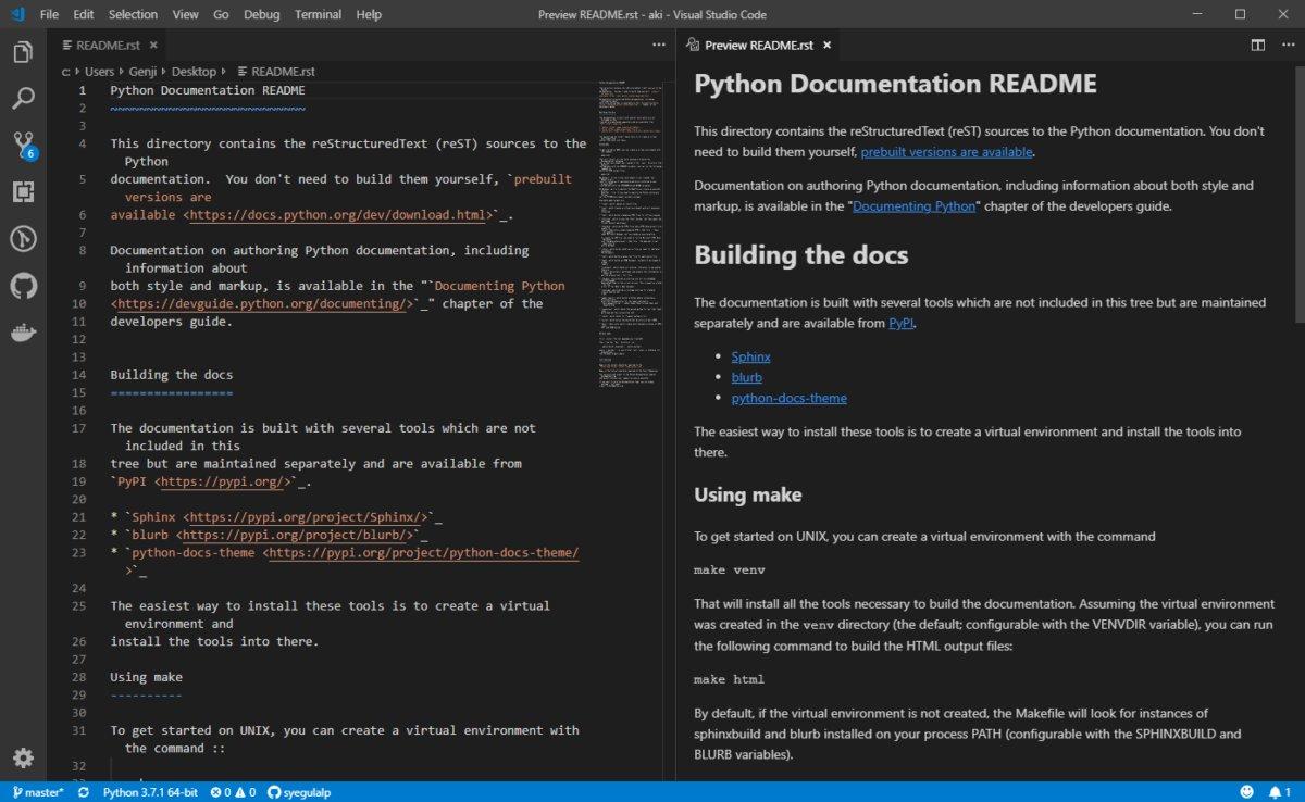 Расширение reStructuredText обеспечивает подсветку синтаксиса и предварительный просмотр для популярного формата документации.
