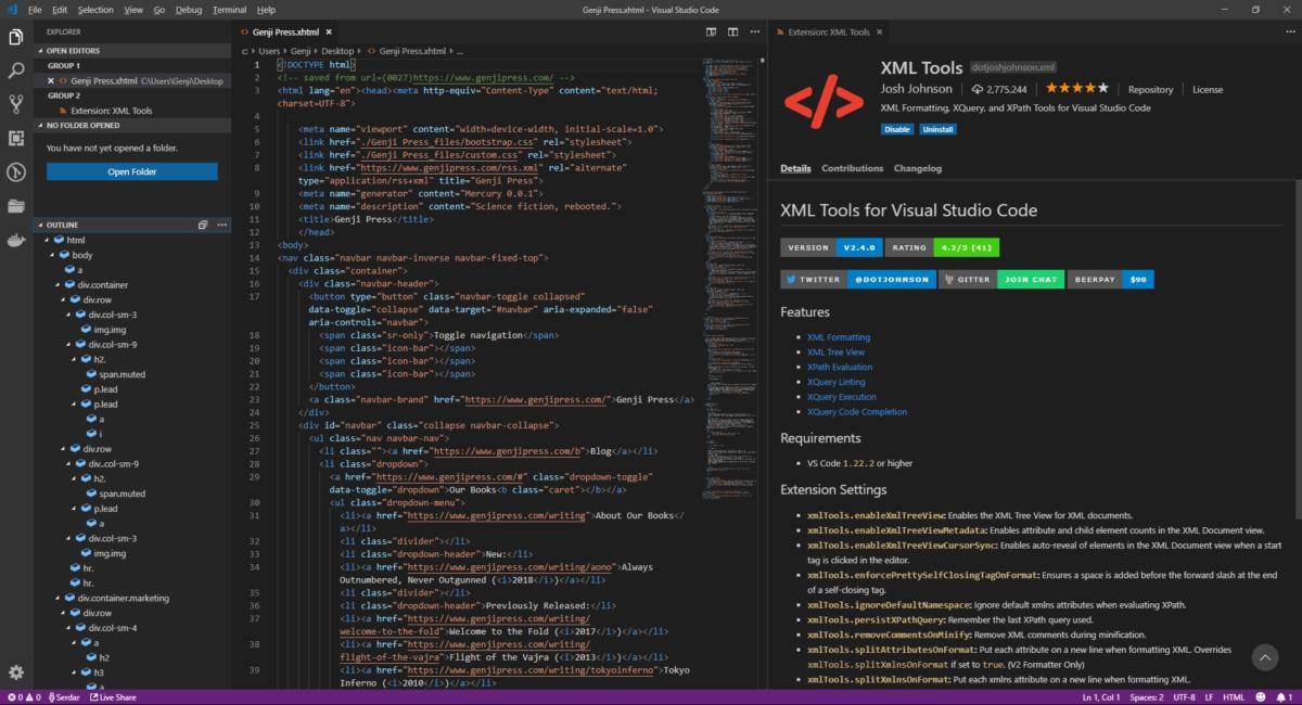 Расширение XML Tools обеспечивает иерархический просмотр дерева XML-документов и предоставляет множество инструментов для работы с этим форматом.